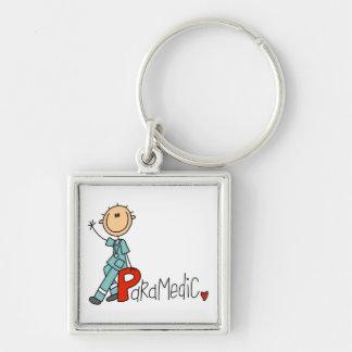 P ist für Sanitäter Silberfarbener Quadratischer Schlüsselanhänger