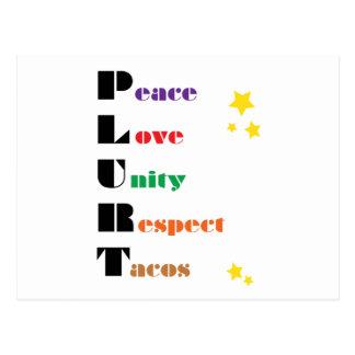 P.L.U.R.T - Frieden, Liebe, Einheit, Respekt, Postkarte