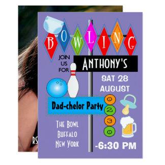 Paar-Baby-Dusche Vati-chelor Retro Bowlings-Party 12,7 X 17,8 Cm Einladungskarte