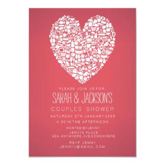 Paar-Brautparty-Feinschmecker-Herz-Party laden ein 11,4 X 15,9 Cm Einladungskarte