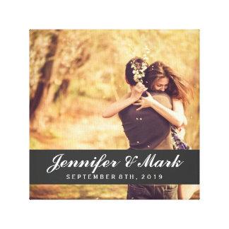 Paar-Foto der Hochzeits-Datums-Leinwand-| Galerie Gefaltete Leinwand