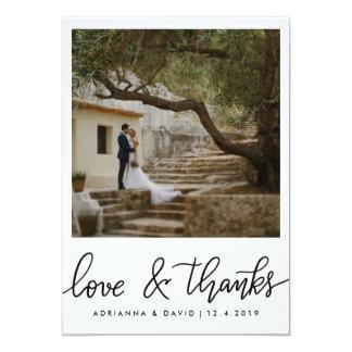 Paar-Foto-Hochzeits-Liebe und Dank-Skript 12,7 X 17,8 Cm Einladungskarte