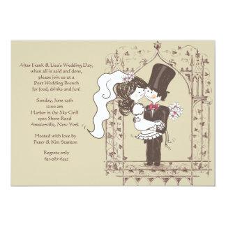 Paar-Posten-Hochzeits-Brunch-Einladung 12,7 X 17,8 Cm Einladungskarte