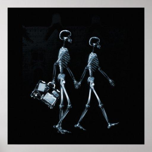Paar-reisende Röntgenblick-Skelette - Blau Poster