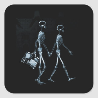 Paar-reisende Röntgenblick-Skelette - Blau Quadrat-Aufkleber