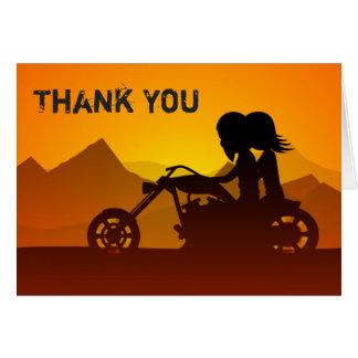 Paar-Reitmotorrad mit Bergen danken Ihnen Karte