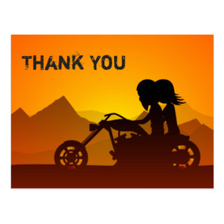 Paar-Reitmotorrad mit Bergen danken Ihnen Postkarte