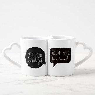 Paar-Tassen: Hallo hübsch/Morgen schön Liebestassen