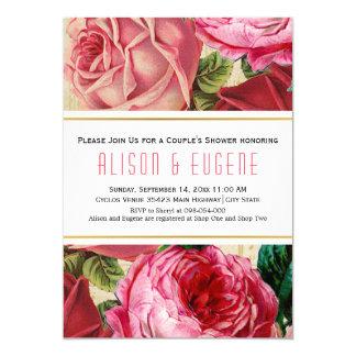 Paardusche hochzeit der Vintagen rosa Rosen Blumen 12,7 X 17,8 Cm Einladungskarte