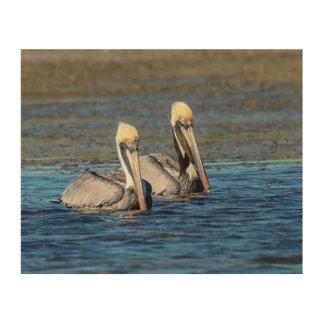 Paare 10x8 Pelikane Holzdruck
