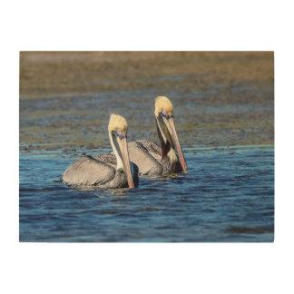 Paare 24x18 Pelikane Holzdruck