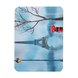 Paare an der Eiffelturm-Paris-Malerei Recchteckiger Magnet