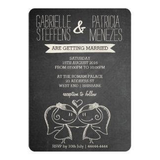 Paare auf Tafel-lesbischer Hochzeits-Einladung 12,7 X 17,8 Cm Einladungskarte