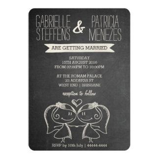 Paare auf Tafel-lesbischer Hochzeits-Einladung Karte