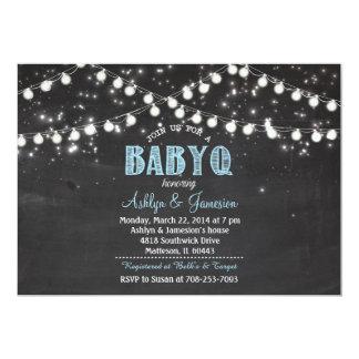 Paare BabyQ GRILLEN Babyblau Duschen-Lichter 12,7 X 17,8 Cm Einladungskarte