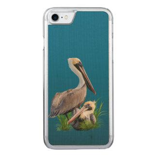 Paare Brown-Pelikane Carved iPhone 8/7 Hülle