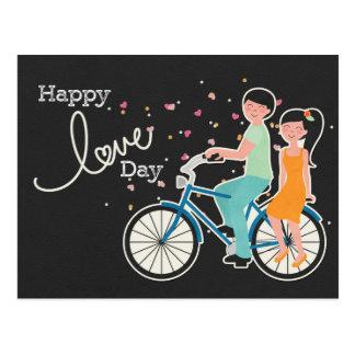 Paare das Day|Cute glücklichen Liebevalentines auf Postkarte