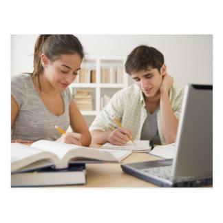 Paare, die zusammen studieren postkarte