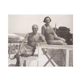 Paare im Feiertag in Cannes, Frankreich im Jahre Leinwanddruck