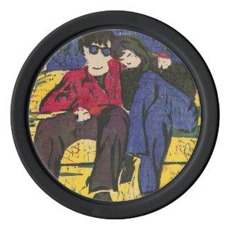 Paare im Liebe-Holzschnitt drucken blaues Rot-Gelb Poker Chips Set