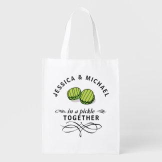 Paare in einer Essiggurke zusammen personalisiert Wiederverwendbare Einkaufstasche