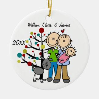Paare mit Baby-und Hundegewohnheits-Verzierung Keramik Ornament