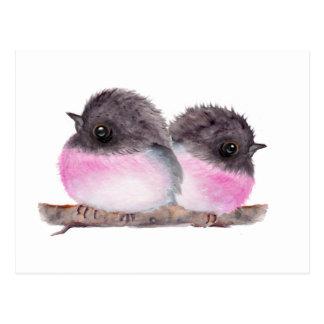 Paare Rotkehlchen-Aquarellmalerei der Vogelbabys Postkarte