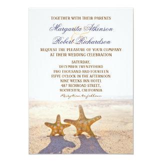 Paare Starfishstrandhochzeitseinladungen 12,7 X 17,8 Cm Einladungskarte