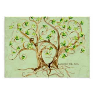 Paare Strudel-Baum-Wurzeln Antiqued grünes