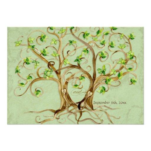 Paare Strudel-Baum-Wurzeln Antiqued grünes Einladungskarte