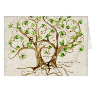 Paare Strudel-Baum-Wurzeln Antiqued TAN-Pergament Mitteilungskarte