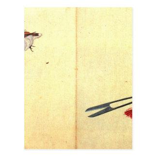 Paare von sissors und von Spatzen durch Katsushika Postkarte