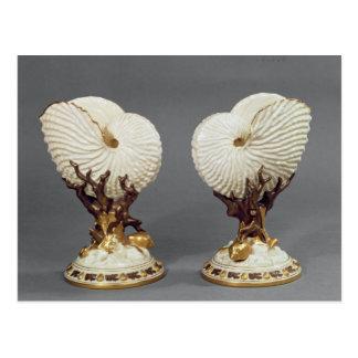 Paare Worcester-Vasen geformt als Nautilus Postkarte