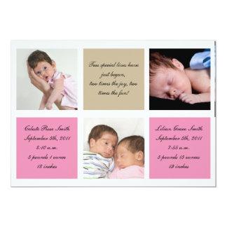 Paart Geburtsmitteilung - Mädchen 12,7 X 17,8 Cm Einladungskarte