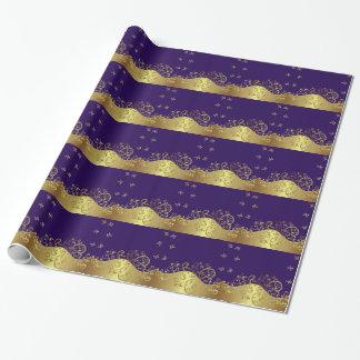 Packpapier--GoldWirbel u. dunkles Lila Geschenkpapier