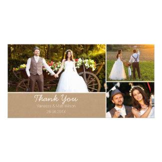 Packpapier-Hochzeit danken Ihnen Foto-Karte Karte