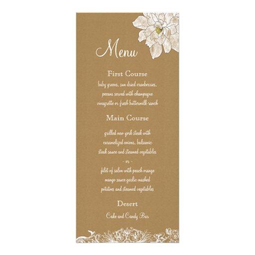 Packpapier-Hochzeit: Menü-Karten Kartendruck