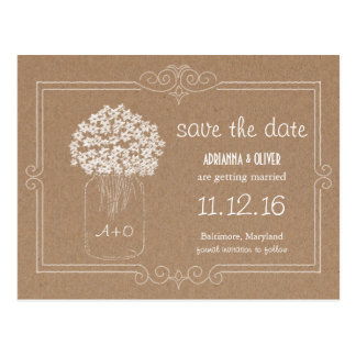 Packpapier-Maurer-Glas-Blumen Save the Date Postkarte