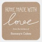 Packpapier-Zuhause gemacht mit Liebe-Typografie Quadratischer Aufkleber
