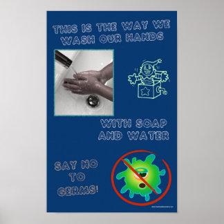 Pädagogisches Hand-wshing Poster