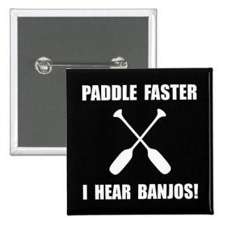 Paddel hören schneller Banjos Quadratischer Button 5,1 Cm