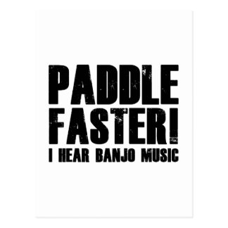 Paddel schneller höre ich Banjo-Musik Postkarte