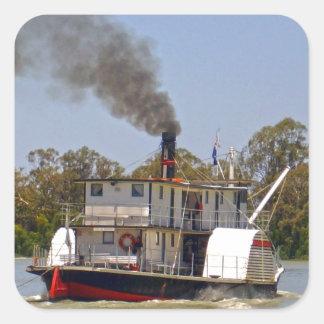 Paddle_Steamer, _Murray_River, _ Quadratischer Aufkleber