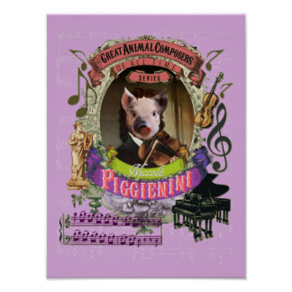 Paganini Spoof-Parodie Piggienini niedlicher Poster