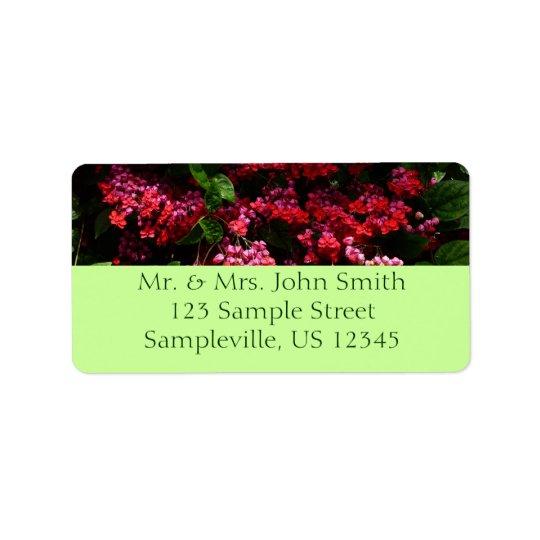 Pagoden-Blumen-buntes rotes und rosa Blumen Adressetikett