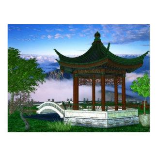 Pagoden-Natur-Landschaftsphantasie-Kunst Postkarte