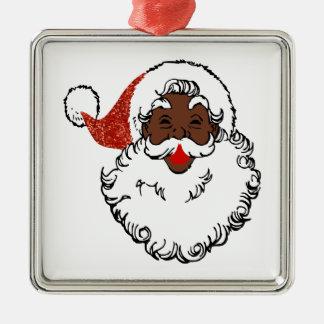 Paillette Afrikaner Weihnachtsmann Quadratisches Silberfarbenes Ornament