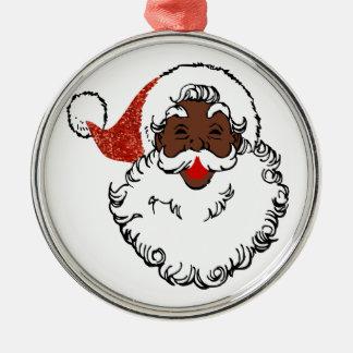 Paillette Afrikaner Weihnachtsmann Rundes Silberfarbenes Ornament