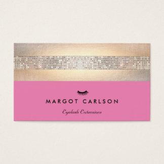 Paillette-und Goldrosa Wimper-Erweiterungs-Salon Visitenkarten