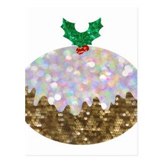 Pailletteweihnachtspuddings Postkarten